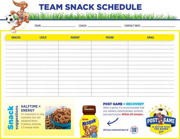 Baseball Snack Schedule Template Snack Schedule Templates