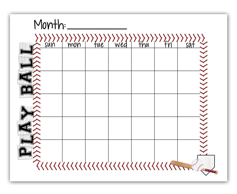 Baseball Snack Schedule Template Tee Ball Baseball Schedule Blank Calendar Free Printable
