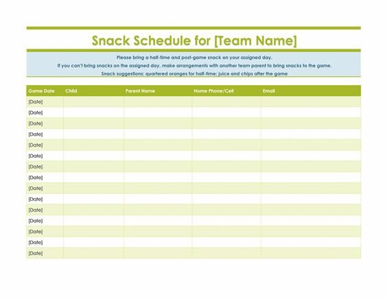 Baseball Snack Schedule Template to Be Important Documents and the O Jays On Pinterest