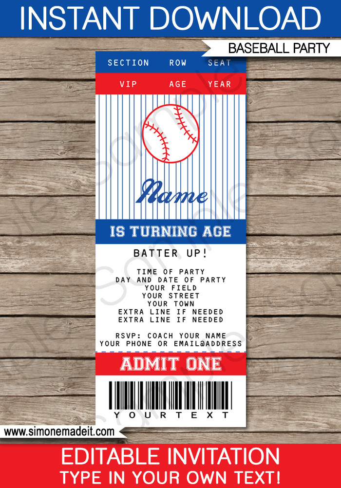 Baseball Ticket Invitation Template