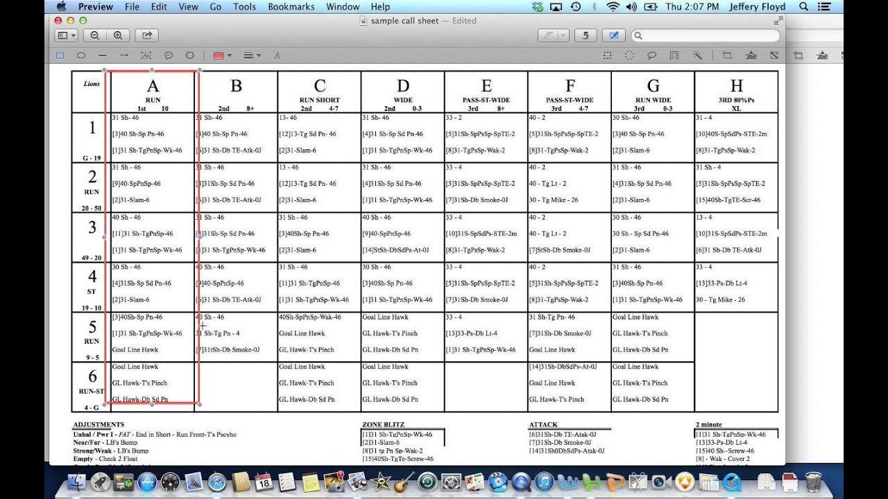 Baseball Wrist Coach Template Call Sheet