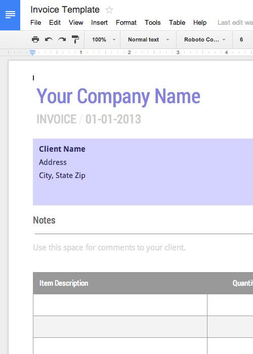 Basic Invoice Template Google Docs Blank Invoice Template Free for Google Docs