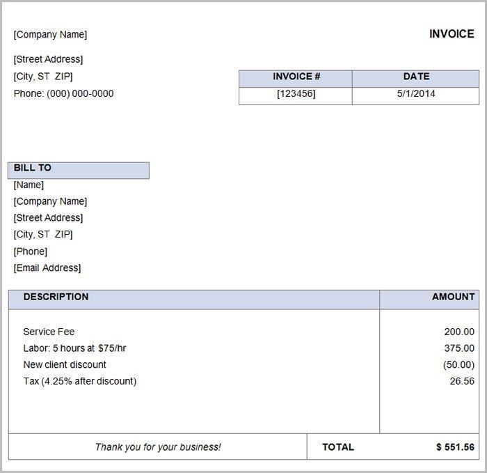 Basic Invoice Template Word 16 Free Basic Invoice Templates