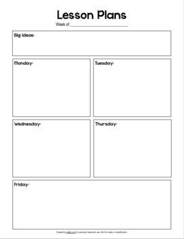 Basic Lesson Plan Template No by Melissa Schaper