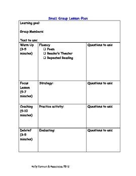 Basic Lesson Plan Template Small Group Lesson Plan Template and Guide for Reading