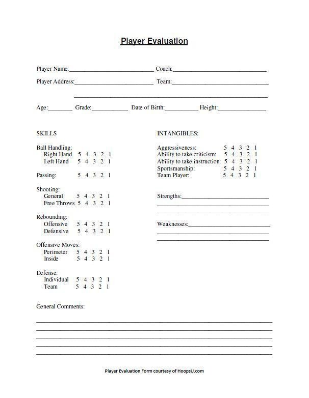 Basketball Player Evaluation form Basketball Tryout Evaluation form