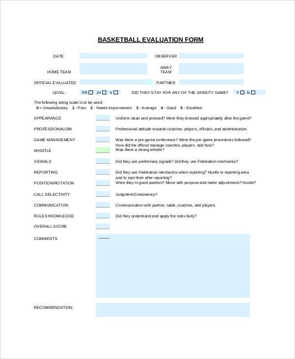 Basketball Player Evaluation form Sample Basketball Evaluation form 10 Examples In Word Pdf