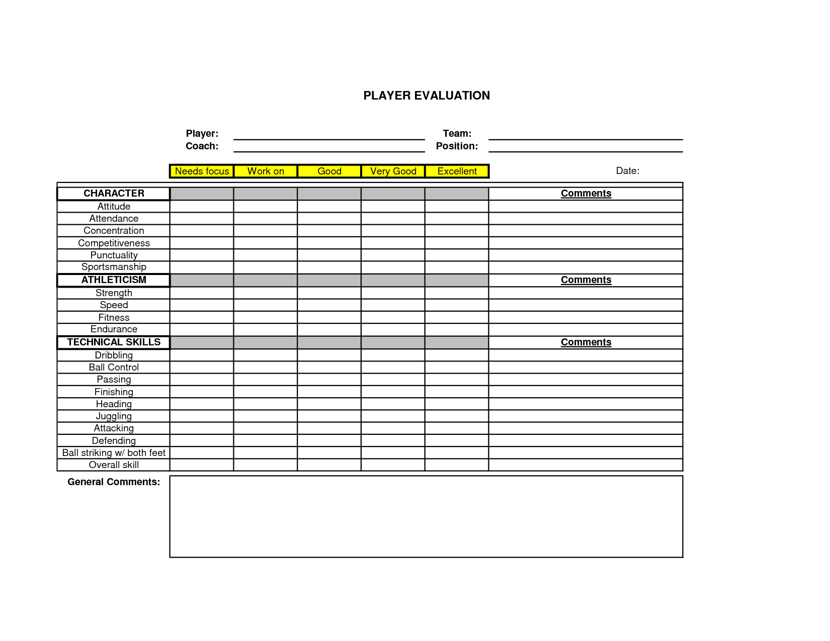 Basketball Player Evaluation form soccer Player Evaluation form Google Search