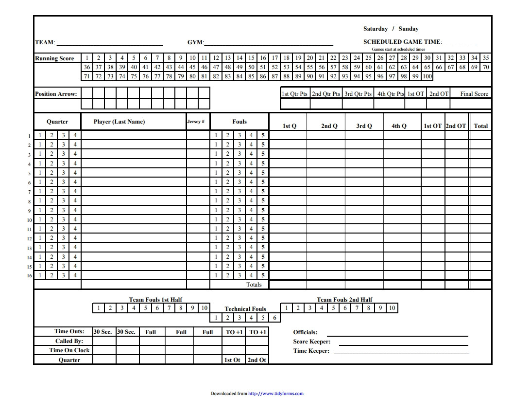 Basketball Stat Sheet Excel Basketball Score Sheet Free Download Create Edit Fill