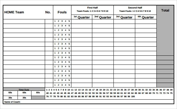 Basketball Stat Sheet Excel Sample Basketball Score Sheet 9 Documents In Pdf Word