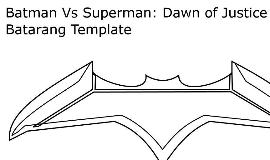 Batarang Template Pdf Batarang Template form Batman Vs Superman Dawn Of by