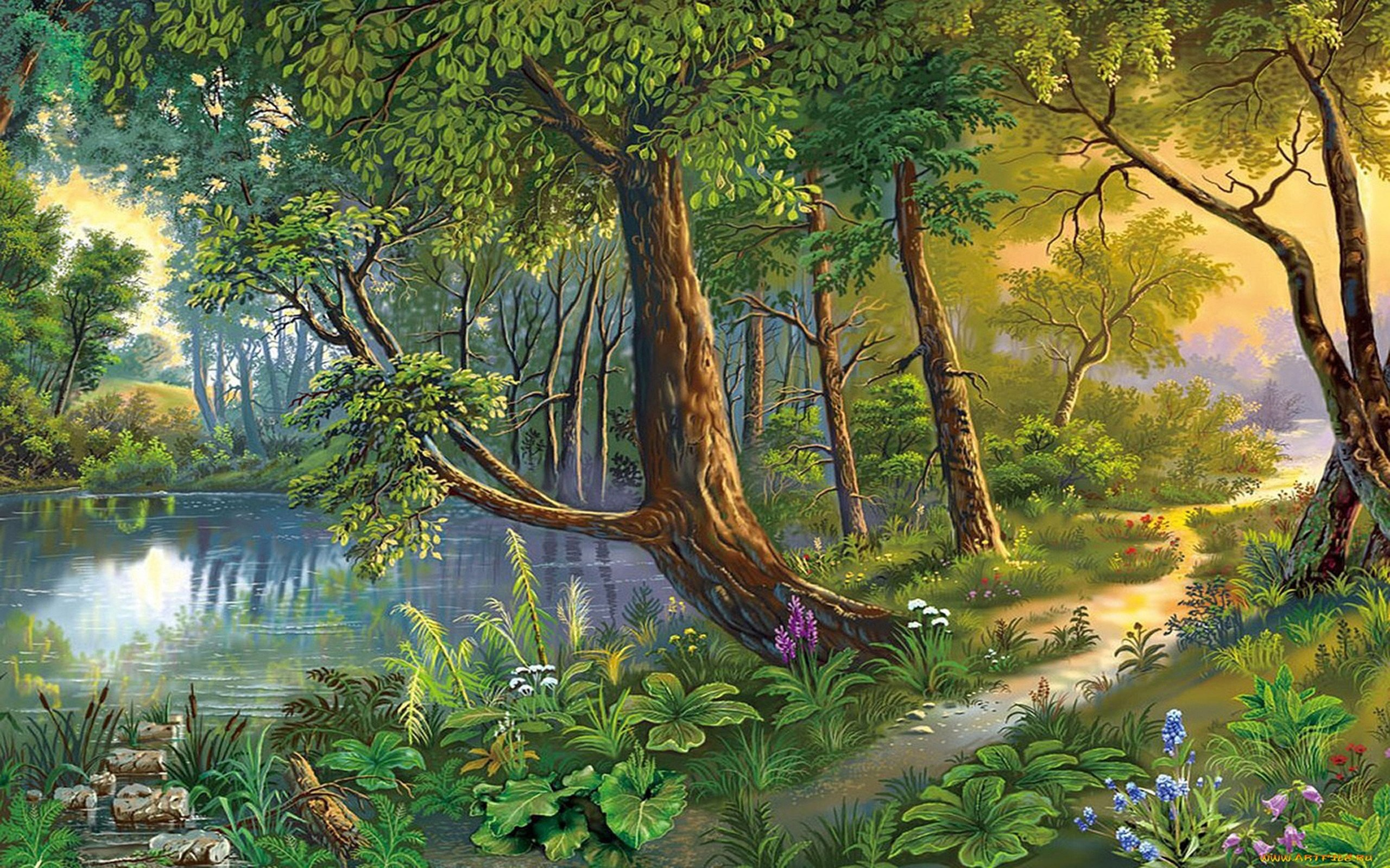 Beautiful Drawings Of Nature Beautiful Landscape Nature Art River Trees Flowers Hd