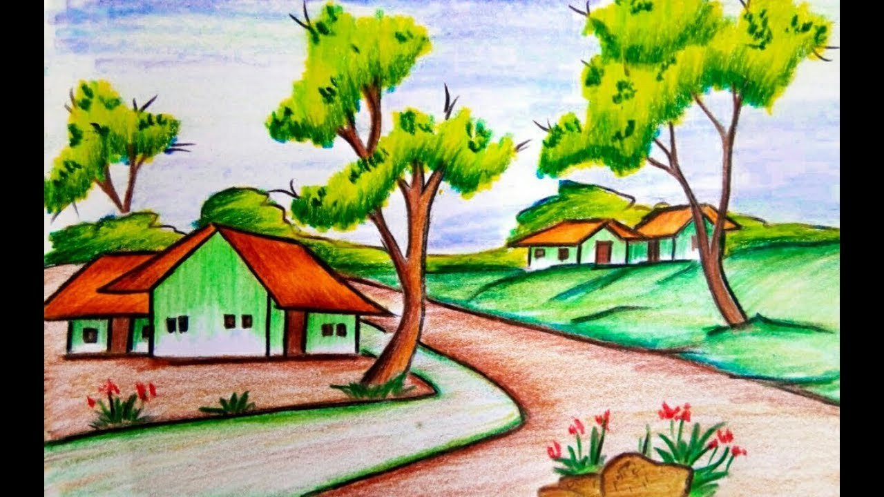 Beautiful Drawings Of Nature How to Draw A Village Scenery Of Beautiful Nature Step by