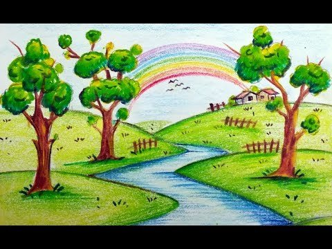 Beautiful Drawings Of Nature How to Draw Very Easy Beautiful Scenery with Rainbow for