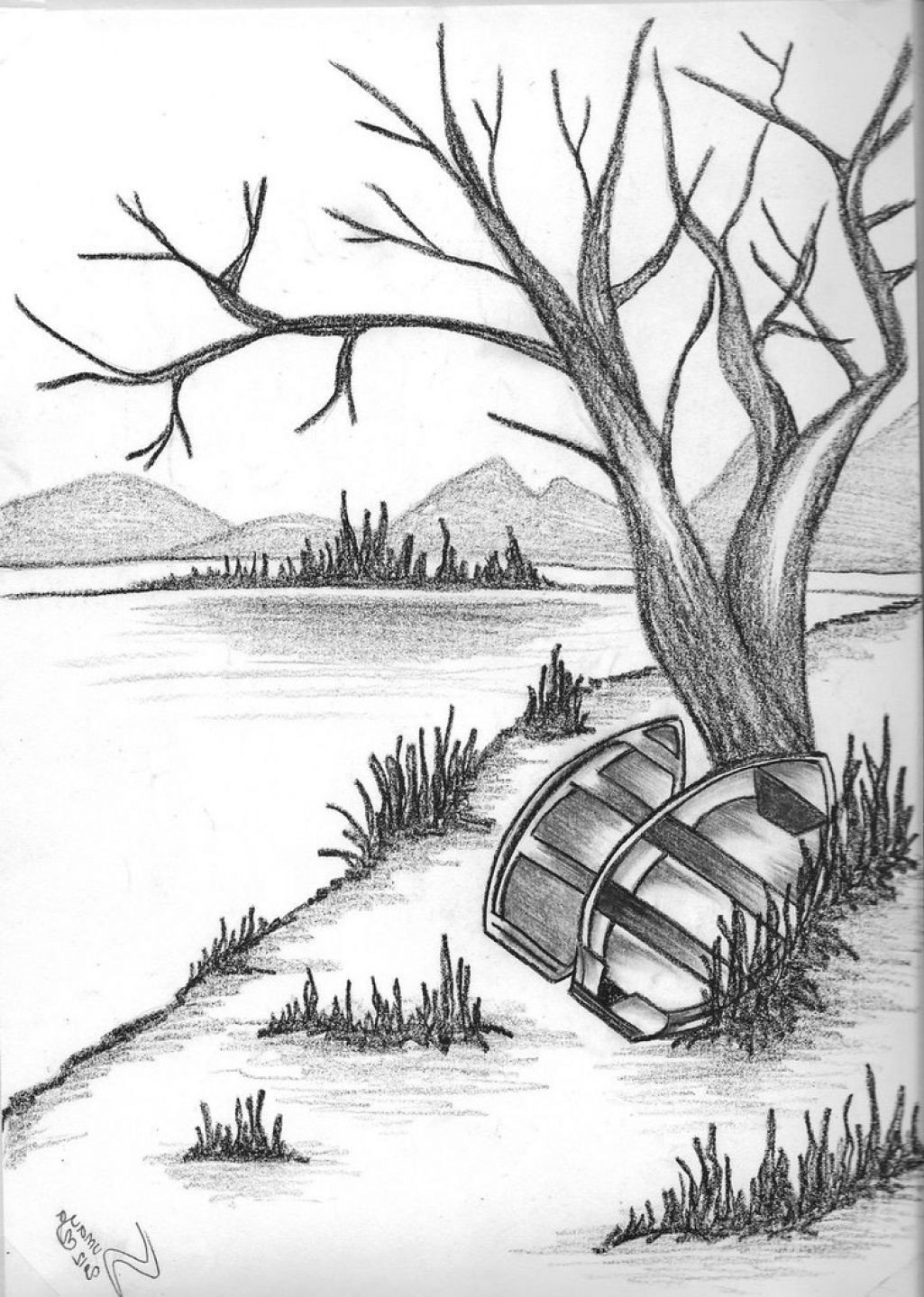 Beautiful Drawings Of Nature Pencil Drawing Natural Scenery Simple Pencil Drawings