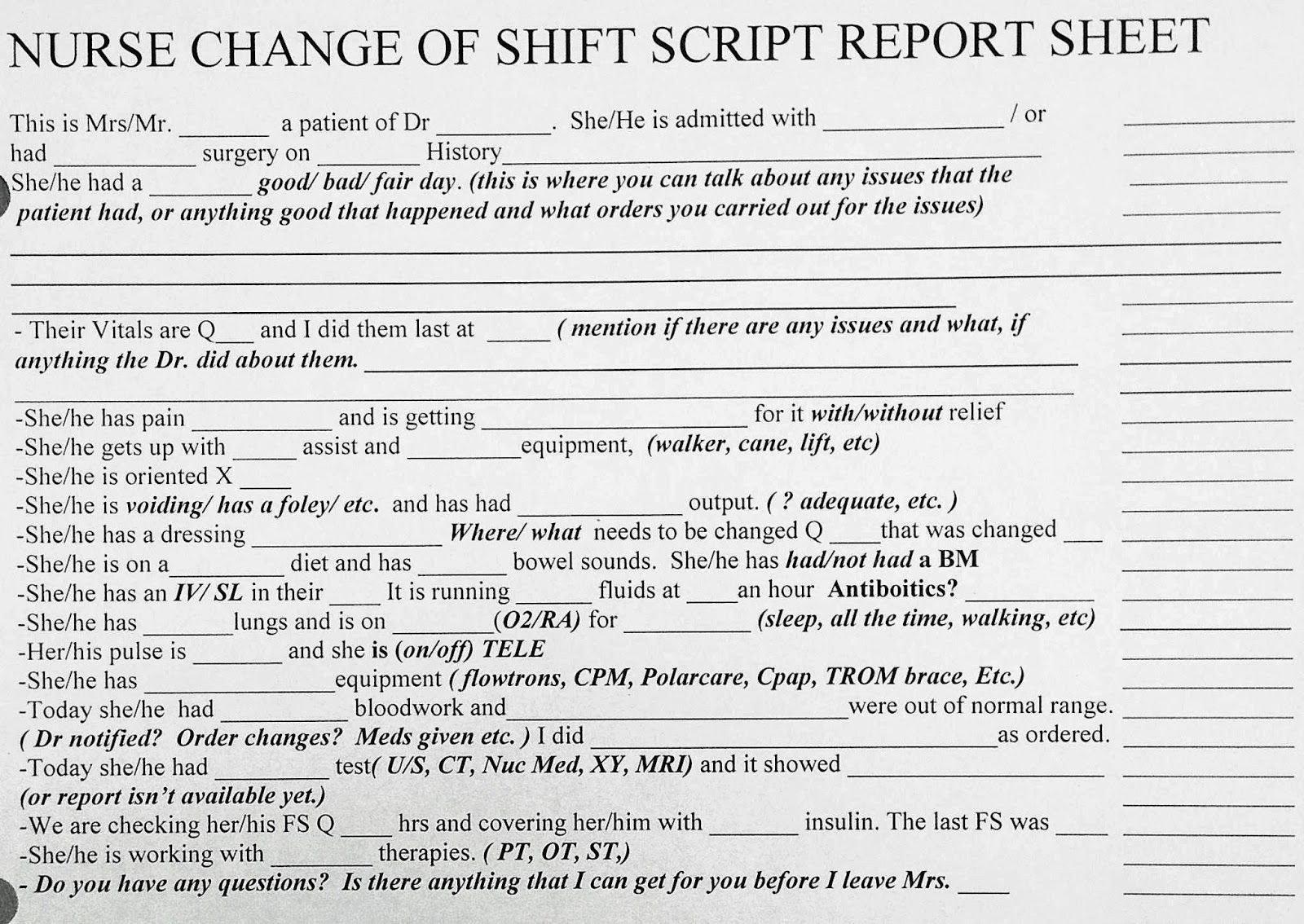 Bedside Shift Report Template Awesome New Grad or Experienced Nurse Change Of Shift