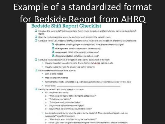 Bedside Shift Report Template Bedside Reporting