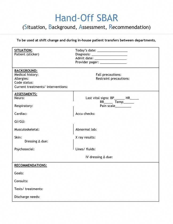 Bedside Shift Report Template Image Result for Nursing Shift Handover form