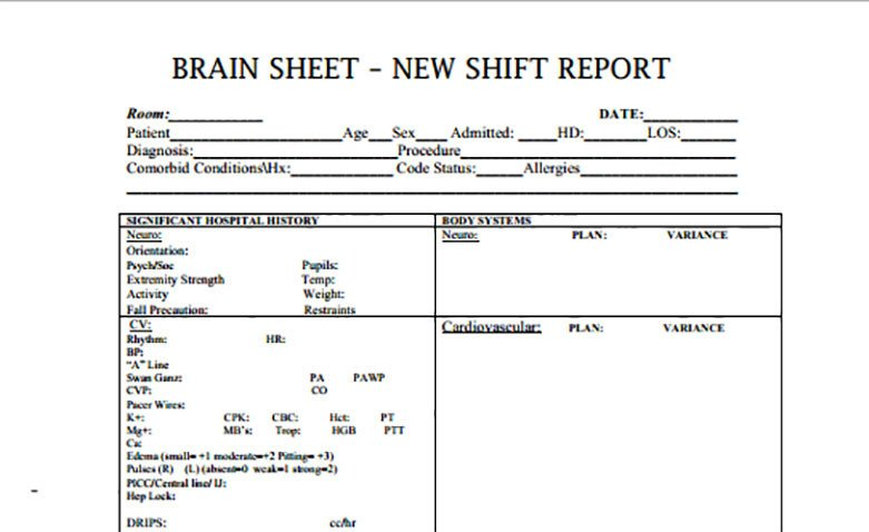 Bedside Shift Report Template Nurse Brain Sheets New Shift Report Scrubs