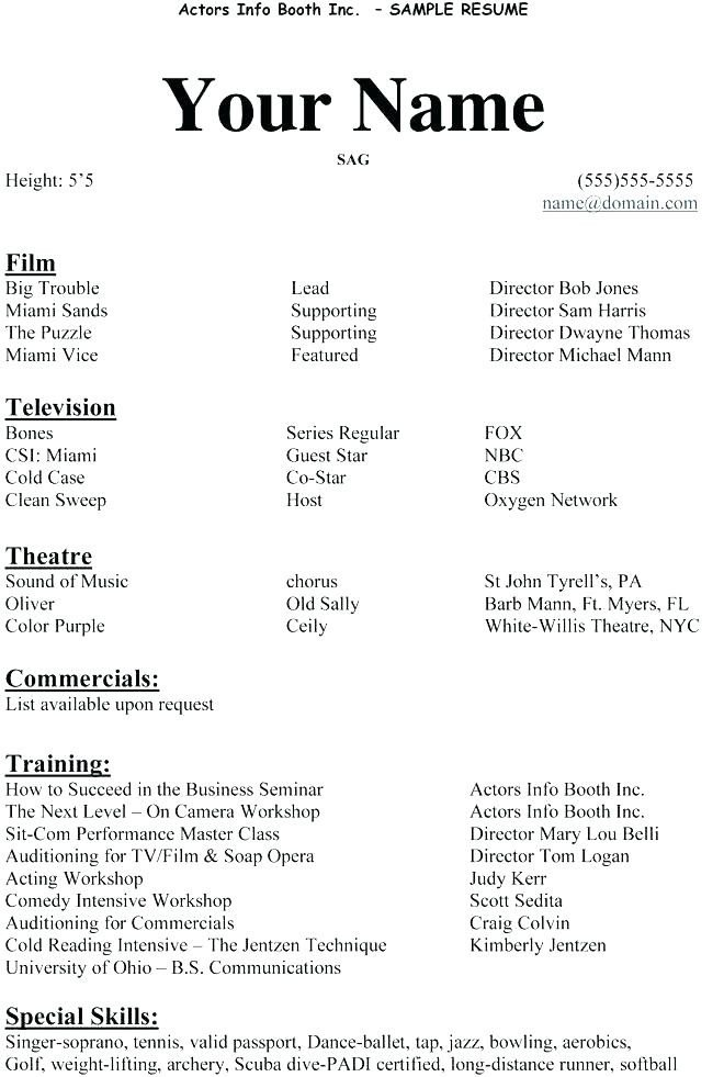 Beginner Actor Resume Template 4 5 Acting Resume Example