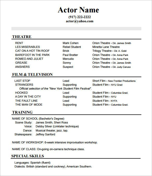 Beginner Actor Resume Template Acting Resume Advice From asc