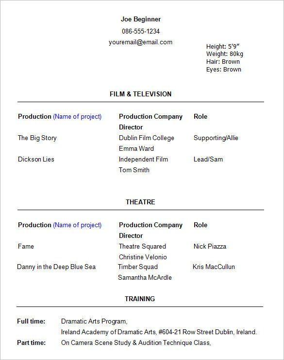 Beginner Actor Resume Template Talent Resume Template
