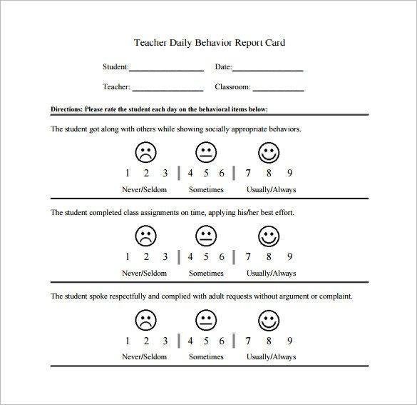 Behavior Chart Template – 12 Free Sample Example Format