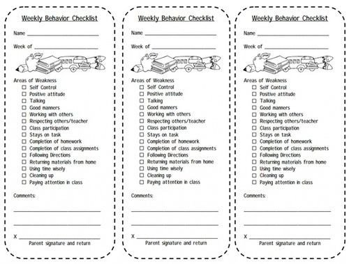 Behavior Checklist for Students Print This Weekly Behavior Checklist for Students Balance