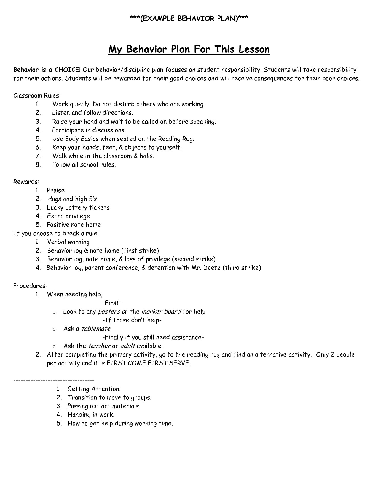 Behavior Modification Plan Example Behavior Intervention Plan