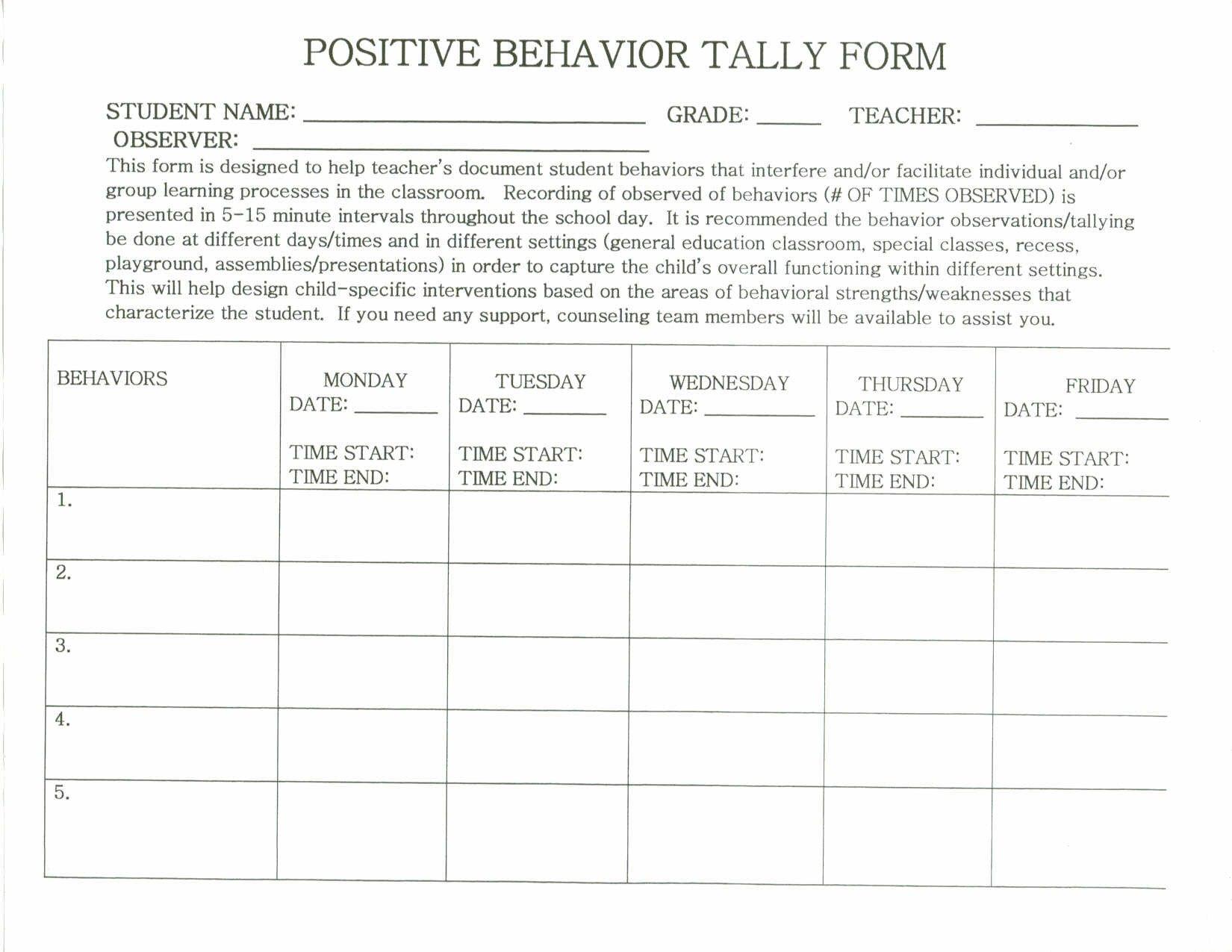 Behavior Tally Sheet Template 28 Of Behavior Tally Sheet Template