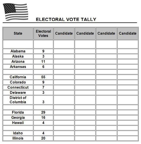 Behavior Tally Sheet Template Electoral Vote Tally Template