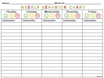 Behavior Tally Sheet Template Weekly Behavior Charts and Tally Sheets for Children