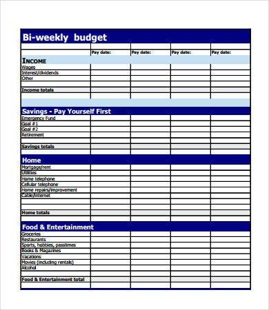 Bi Weekly Budget Bud forms 9 Free Pdf Documents Download