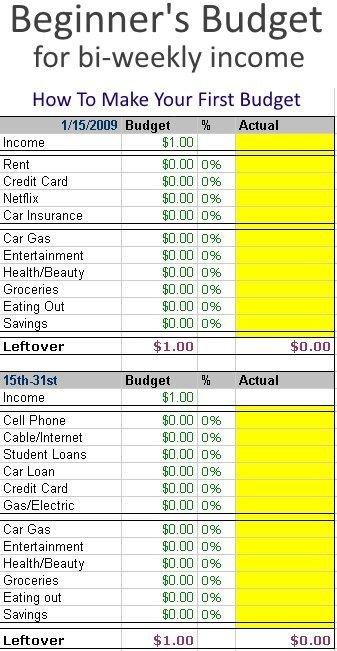 Bi Weekly Budget Creating A Beginner S Bud Especially for Bi Weekly