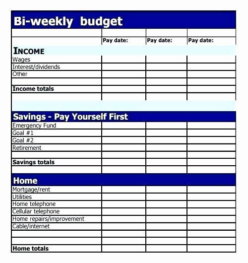 Bi Weekly Budget Excel Template 15 Inspirational Bi Weekly Bud Spreadsheet