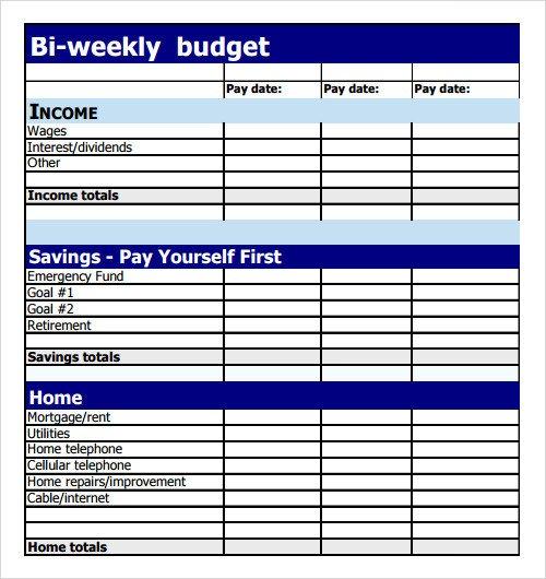 Bi Weekly Budget Sample Bud 8 Documents In Pdf Excel
