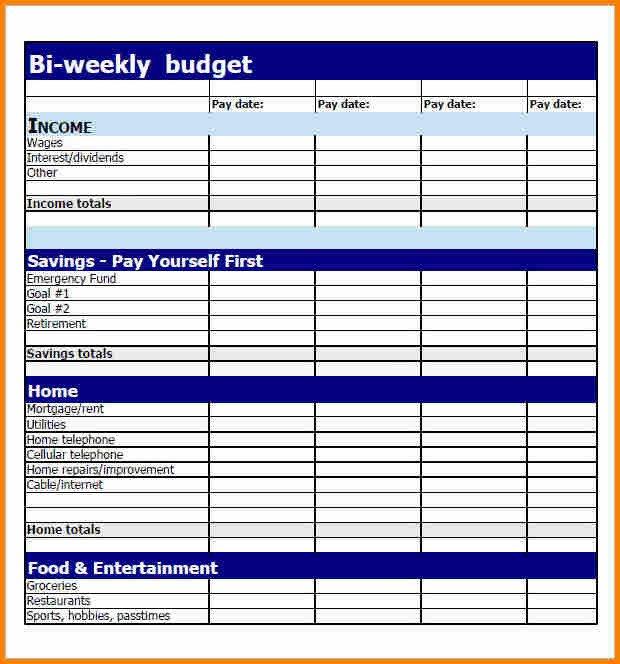 Bi Weekly Budget Worksheet 6 Bi Weekly Bill Pay Template