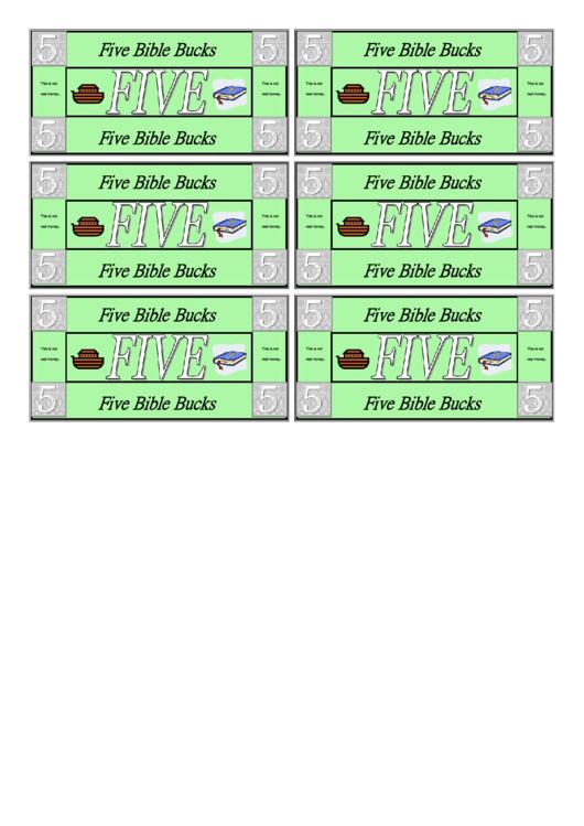 Bible Bucks Template Five Bible Bucks Template Printable Pdf
