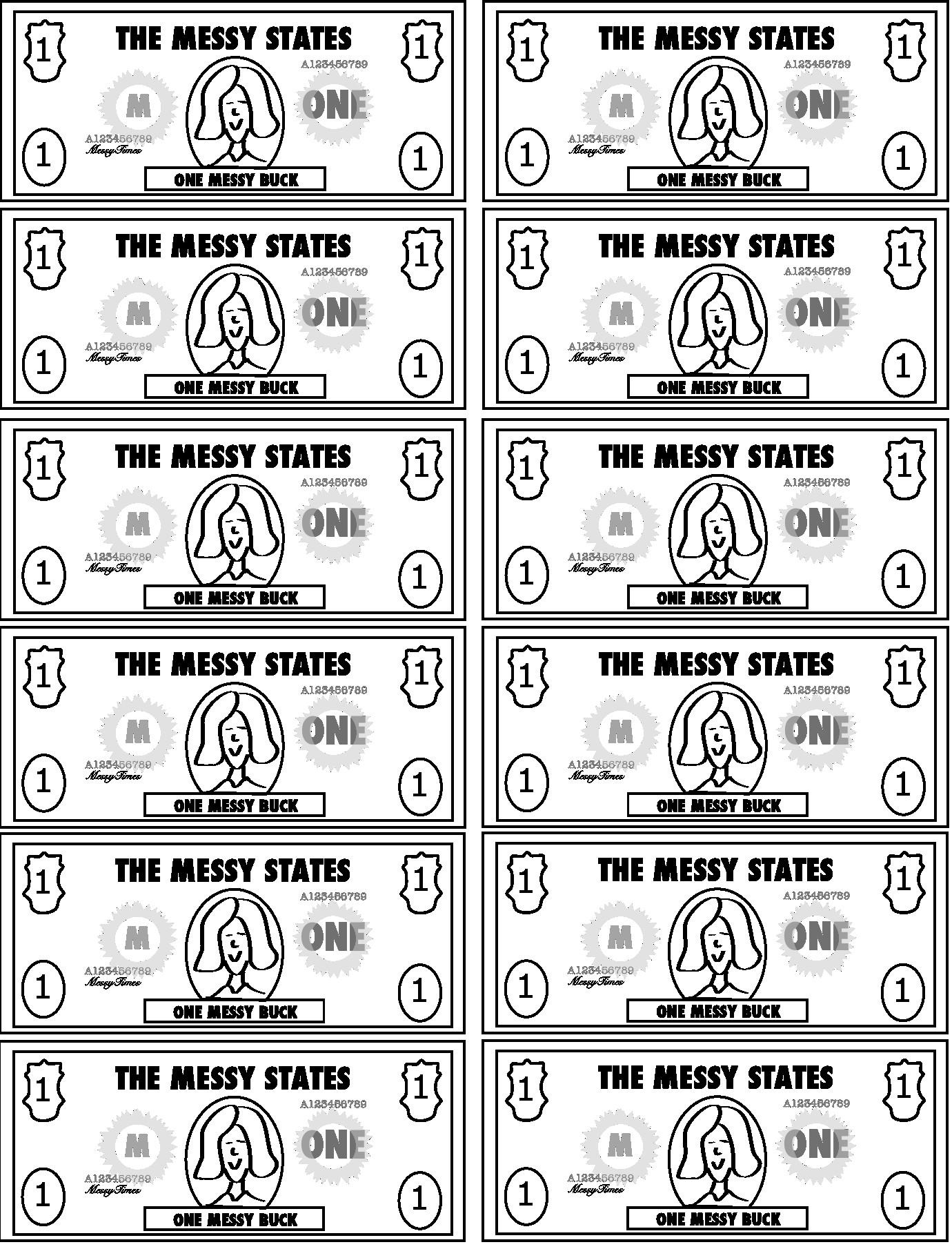 Bible Bucks Template Messy Bucks – Print Your Own Reward Play Money – Messy Times