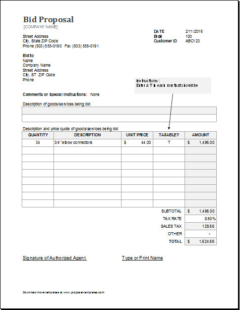 Bid Proposal Template Pdf Bid Proposal Template for Ms Excel