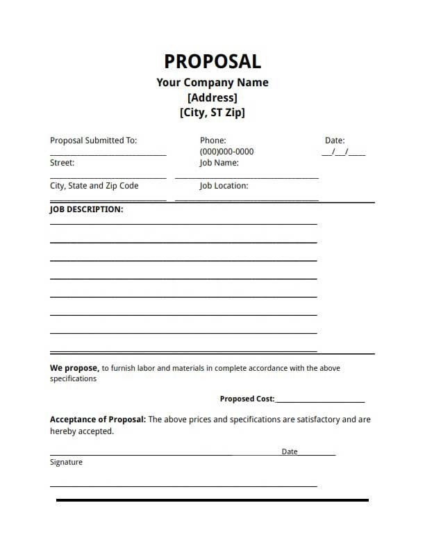 Bid Proposal Template Pdf Proposal Template Free Download Create Edit Fill and Print
