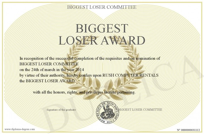 Biggest Loser Certificate Template Biggest Loser Award