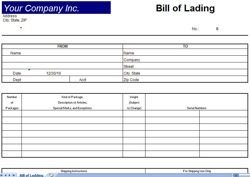 Bill Of Lading Templates Bill Of Lading Template