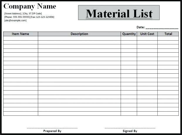 Bill Of Materials Excel Template 11 Bill Of Materials Example