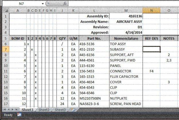 Bill Of Materials Excel Template Bill Of Materials Archives Grabcad Blog