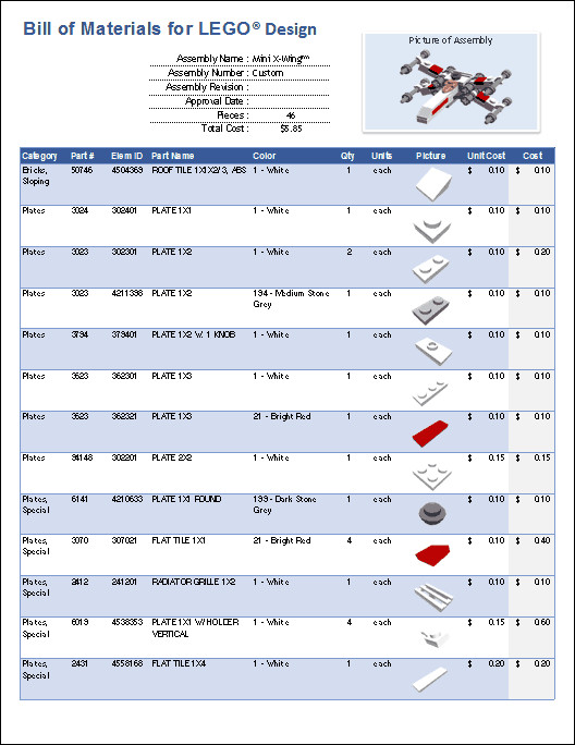 Bill Of Materials Excel Template Excel Templates