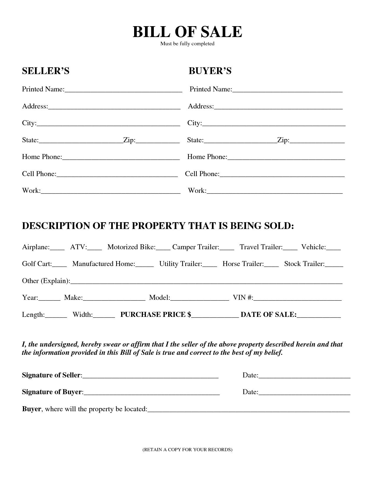 Free Printable Equipment Bill Sale Template Form GENERIC