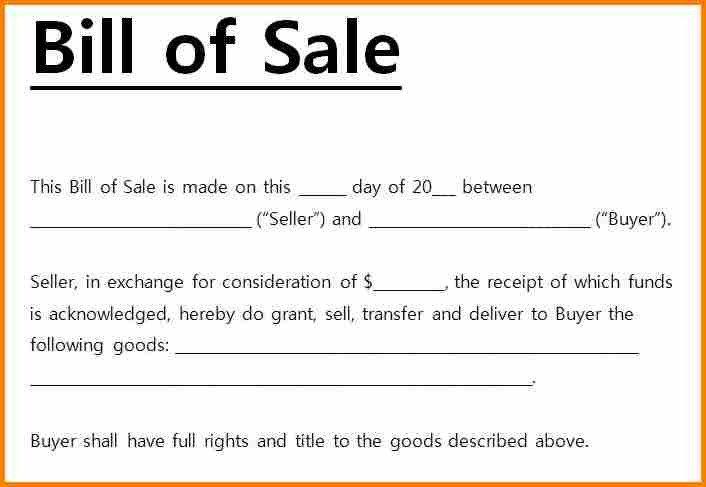Bill Of Sale Florida Template 6 Simple Bill Of Sale Pdf