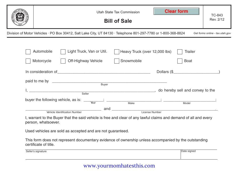 Download Bill Sale Form PDF