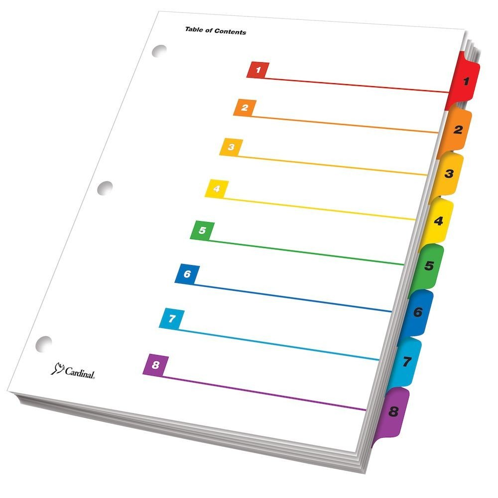 eStep Printable Table of Contents Dividers 8 Tab